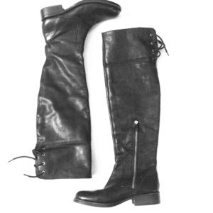 Vince Camuto | Black Leather Over the Knee Boots
